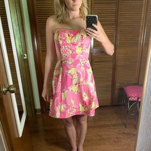 Lilly Pulitzer strapless pink dress size 00